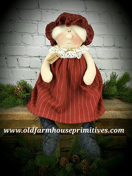 "#HAMNC8 Primitive ""Merry"" Sitting Whimsy Mrs. Claus"
