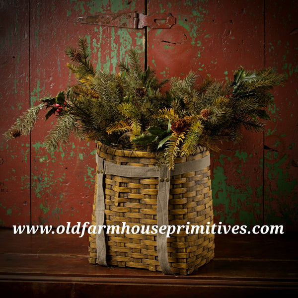 "#RH299 Primitive 25"" MIXED PINE & HOLLY SPRAY"