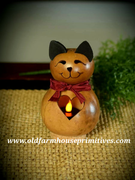 "#MBG15 Meadowbrooke Gourd ""Katie"" Miniature Cat With Heart ♥️ Made In USA) Back In Stock!"