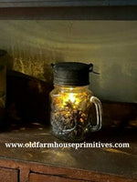 #RHN3 Primitive Antique Reproduction Faraday Mason Jar Lantern