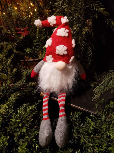 "#DLG4 Adorable Dangle Leg Gnome ""Red Snowflake Hat"""