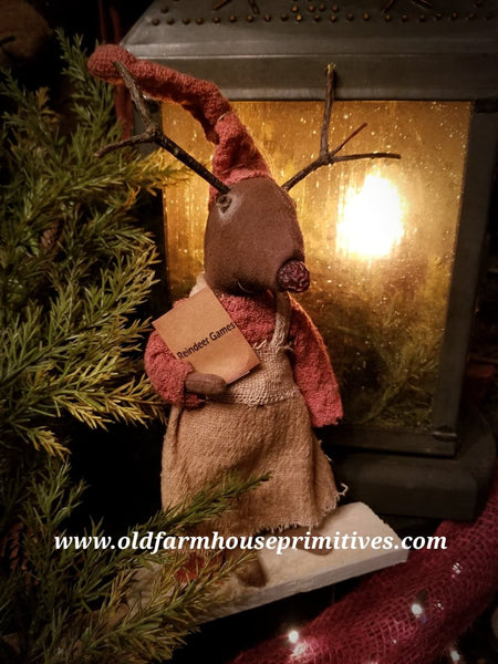 #LT76 Primitive Little Girl Reindeer (Made In USA)