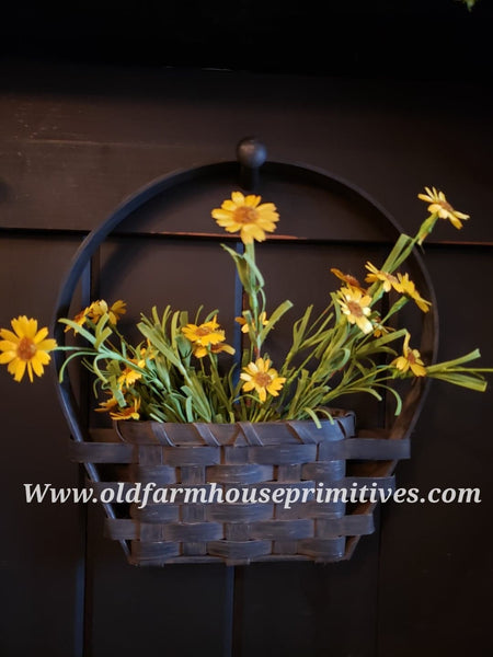 "#PBBG13 Primitive In Between The Door Wall Basket 🧺 ""BLACK"" (Made In USA)"