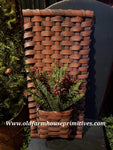 "#PBBG339 Primitive Handmade ""Barn Red Over Black"" Flat Wall Pocket Basket (Made In USA)"