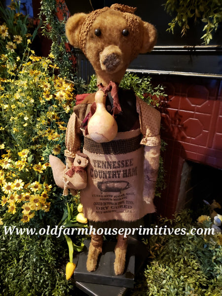 "#RP27 Primitive Tall Standing Girl Bear ""Billy Jo"" Holding Chicken 🐓  Made In USA)"