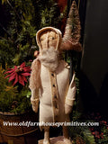 #PNNSC3 Primitive Antique White Santa Holding Tree (Made In USA) Back In Stock!