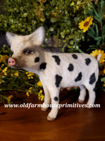 "#CY128C Craig Yenke Small Standing ""Cream Spotted"" Pig (Made In USA)"