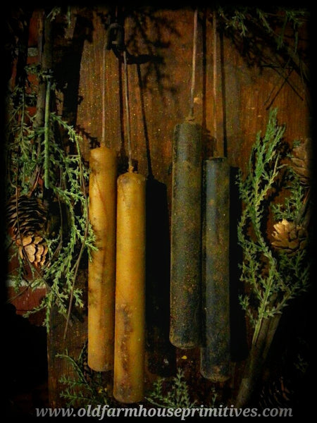 #PBW15 Primitive Colonial Hanging Beeswax Taper Candles (Made In USA)
