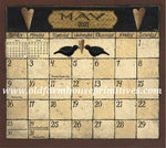 "#CA47 Folk Art By David  Magnetic Calendar ""2021"" ★NOW IN STOCK"