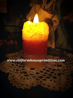 #VJ39 Primitive Candy Corn Moving Flame Votive (Made In USA)