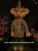 "#RM19 Primitive Tattered Scarecrow Bear ""DUSTY"" (Made In USA)"