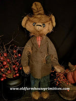 "#RM21 Primitive Tattered Scarecrow Bear ""Dooley"" (Made In USA)"