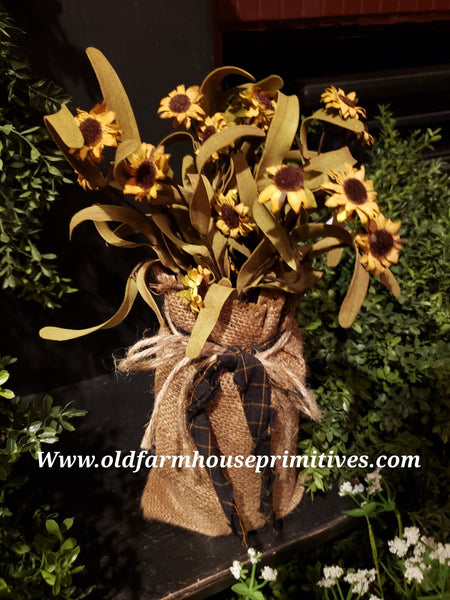 #PBBWPT1 Primitive Sunflowers in Burlap Bag 🌻  (Made In USA)