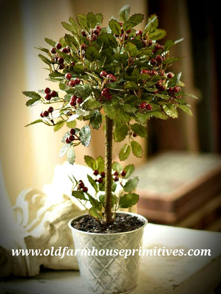 "#LHHW4 18"" Potted Holly Berry Topiary"
