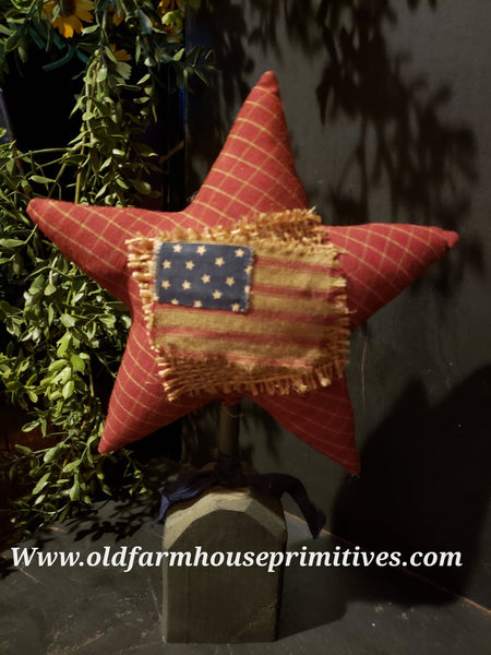 #TBH73 Primitive Americana Homespun Star On Base (Made In USA) Back In Stock!
