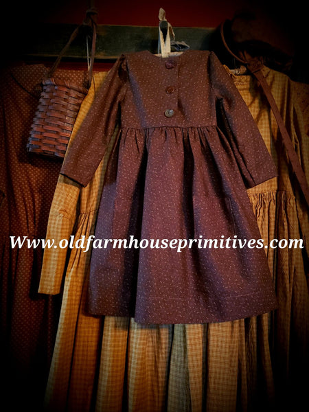 #CBM21 Primitive Chocolate Brown Childs Prairie Dress (Made In USA)