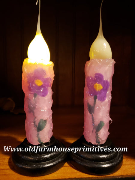 "#VJPP Pastel Pink Candle ""Purple Flower"" Remote Battery Operated Candle (Made In USA)"