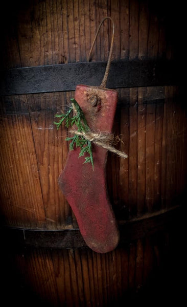 #RPCT3 Primitive Wood Waxed Red Stocking Ornament (Made In USA)