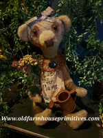 "#RPB7 Primitive Sitting Bear ""Sweet Pea"" Flowers For Mama 💐  (Made In USA)"