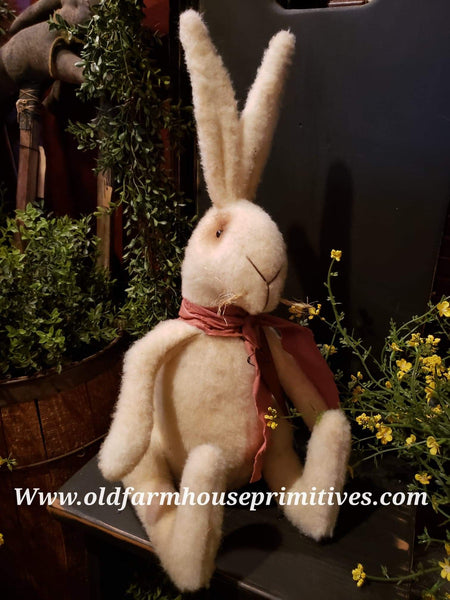 #TBH21 Primitive Sitting White Baby Rabbit (Made In USA)