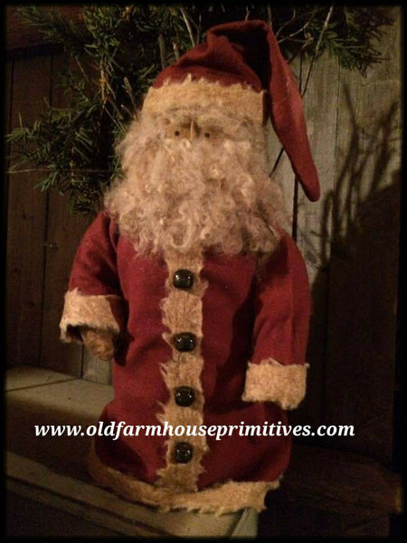 #PH3 Primitive Santa in Cranberry Flannel (Made In USA)