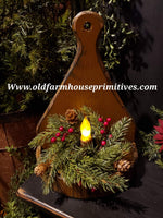 "#PPWS61 Primitive ""Mustard"" 1/2 Circle Wood Candle Sconce (Made In USA)"