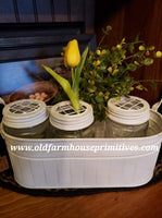 #PDMJC Farmhouse 3 Frog Lid Mason Jars With Caddy