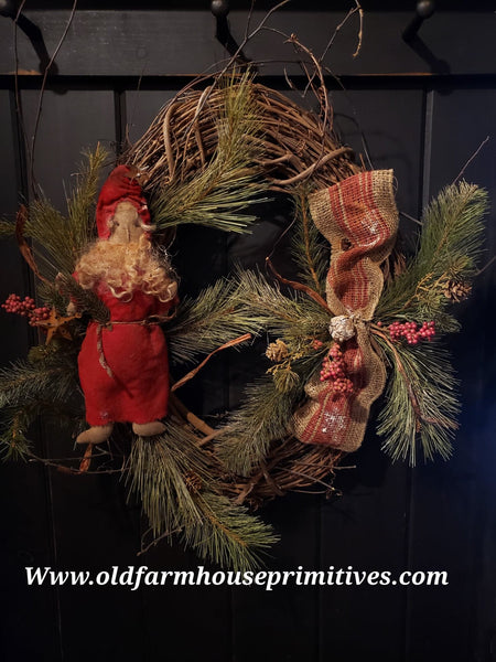#RSN6 Primitive Santa Grapevine Wreath 🎅 (Made In USA)