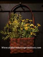 #PBBG19 Primitive Handmade Wall Basket With Handle (Made In USA) *Back In Stock