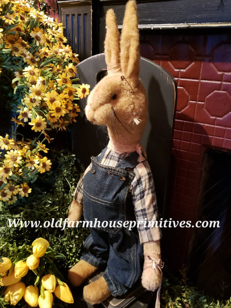 "#RM72 Primitive Medium Standing Tattered & Torn Standing Boy Rabbit ""Roger""  Made In USA) 🐰IN STOCK!"