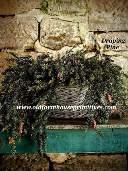 #RH61 Draping Pine Bush Greenery With Pine Cones 🌲#1 Seller