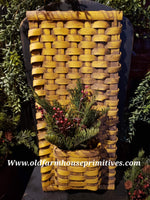 "#PBBG359 Primitive Handmade ""Mustard Over Brown"" Flat Wall Pocket Basket (Made In USA)"