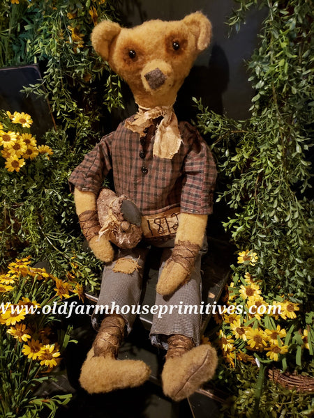 "#RPB12  Primitive Sitting Boy Bear ""Alex"" With Sheep 🐑  (Made In USA)"