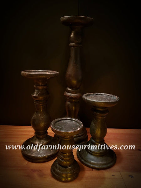 "#PPCH4 Primitive Black Pillar Candle Holder ""TALLEST"""