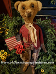 "#RPB19 Primitive Standing Boy Bear Holding American Flag In Bag ""Lincoln"" (Made In USA)"