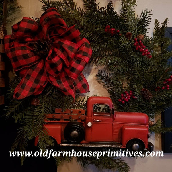 #RTBCW Red Truck Holiday Wreath With Buffalo Check Bow