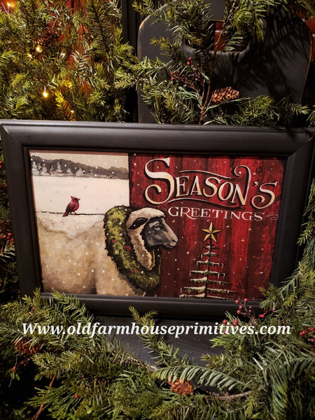 "#PCP1 Primitive Close Up Sheep ""Seasons Greetings"""