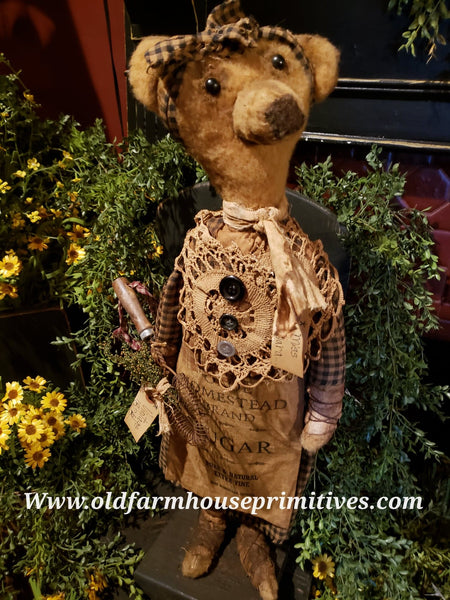 "#RPB15 Primitive Tall Standing Girl Bear ""Miss Sara"" Holding Antique Wisk (Made In USA)"