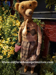 "#RP266 Primitive Tall Standing Girl Bear ""Linda"" Holding Strawberry 🍓   Made In USA)"