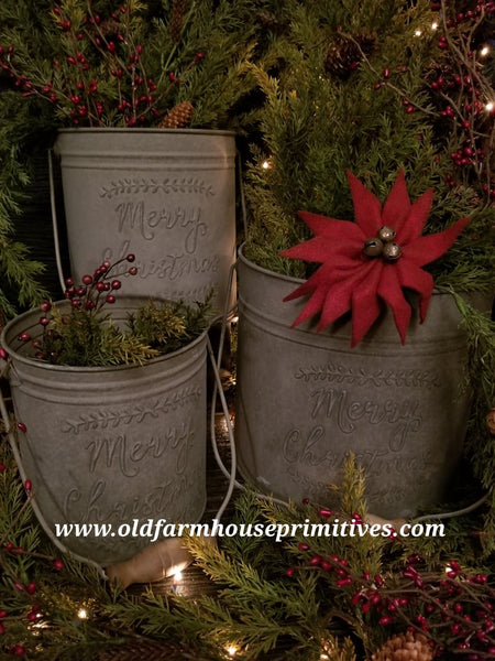 "#LH6 Primitive Grey ""Merry Christmas"" Pails With Handles"