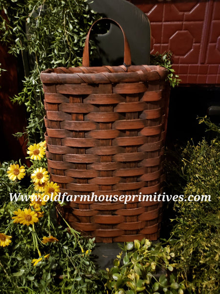 #PBBG66 Primitive Handmade Red Wall Basket With Handle (Made In USA)