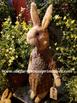 "#RM81 Primitive Standing Tattered & Torn Standing Girl Rabbit ""Thelma""  Made In USA) 🐰IN STOCK!"