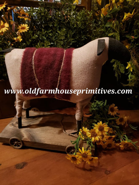 "#EVE2 Primitive Sheep 🐑 Pull Toy ""Red"" Wool Blanket (Made In USA)"