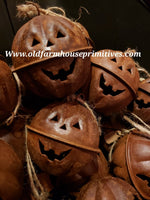 #PRJB Primitive Rusty Jack-o-Lantern Jingle Bell Ornament