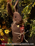 #TBHCR2 Primitive Medium Chocolate Brown Standing Rabbit Holding Carrot (Made In USA)