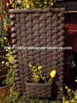 "#PBBGN15 Primitive Handmade NEW LARGER ""Black With Brown"" Flat Wall Pocket Basket (Made In USA)"