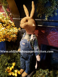 "#RM35 Primitive Large Standing Tattered & Torn Standing Boy Rabbit ""Timothy"" (Made In USA)"