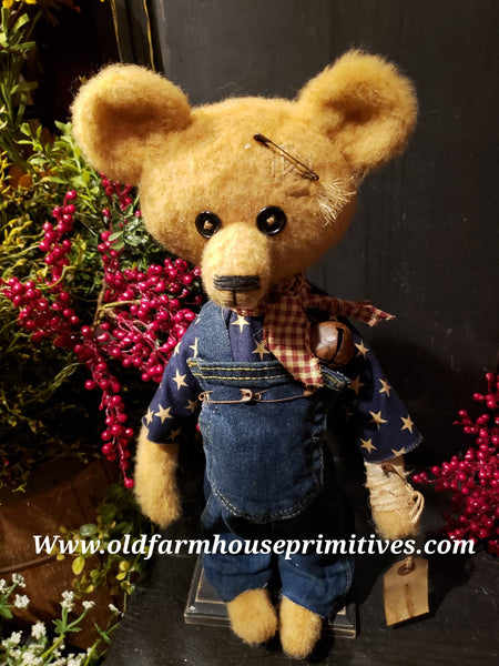 "#RM78 Primitive Tattered And Torn Boy Bear 🐻 ""Murphy"" (Made In USA)"
