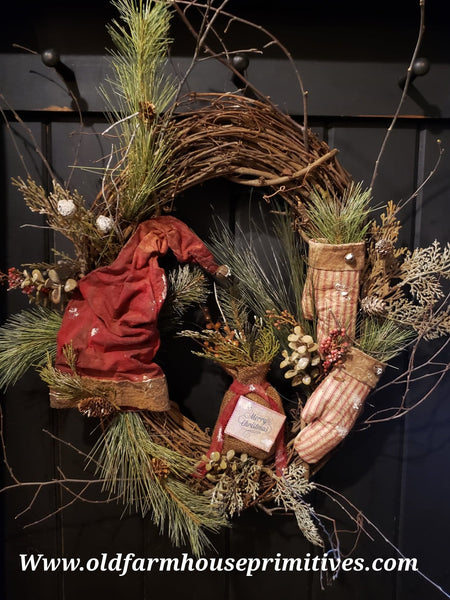 #RSN4 Primitive Santa Hat And Mittens Grapevine Wreath 🎅 (Made In USA) More On Order