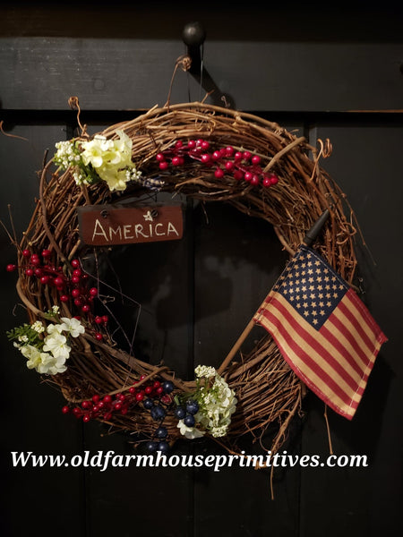 "#PSTW8 Primitive ""Americana"" Grapevine Wreath (Made In USA) ★"